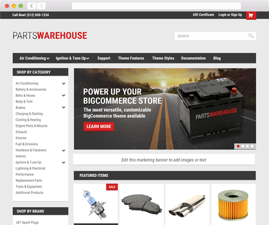 Parts Warehouse Theme in browser